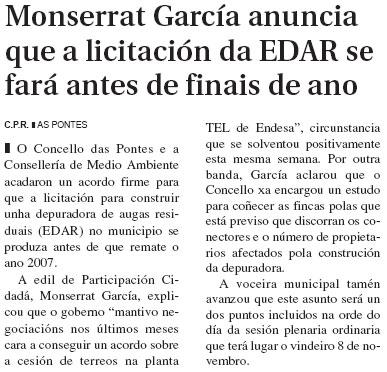 El Progreso: Montserrat García anuncia que a licitación da EDAR ser fará antes de finais de ano.
