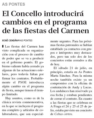 El progreso: El concello introducirá cambios en el programa de las fiestas del Carmen