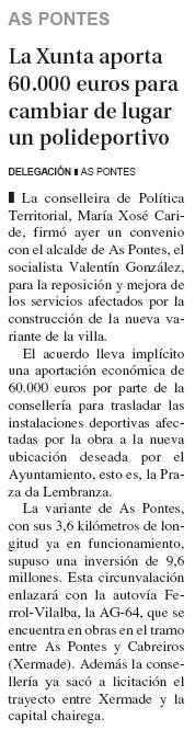 La Xunta aporta 60.000 euros para cambiar el lugar de un polideportivo
