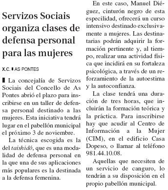 El Progreso: Servizos sociais organiza clases de defensa personal para las mujeres.